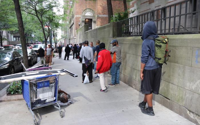 Homeless article-- (Line outside Crossroads Community Soup Kitchen in Midtown East, Photo- Elvert Barnes, Flickr)