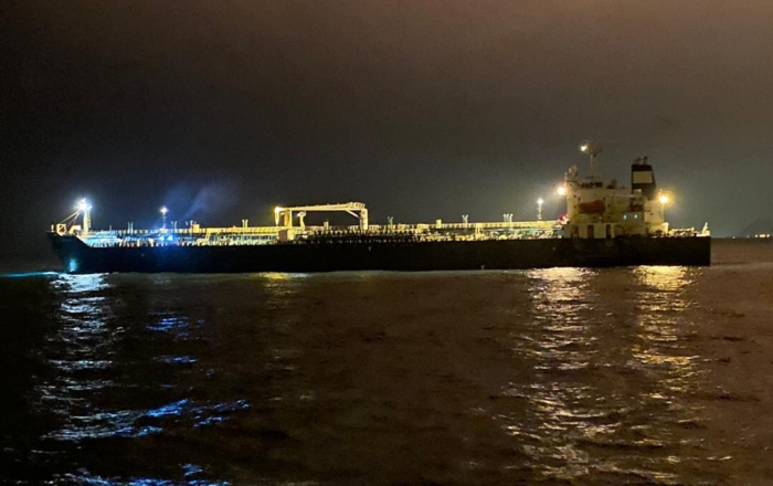 The tanker, Fortune, on the way to the El Palito refinery. Photo: Tareck El Aissami (@TareckPSUV)