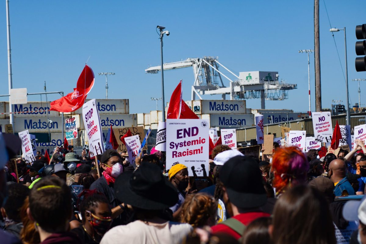 Port Shutdown Rally in Oakland, Ca. June 19. Liberation photo.
