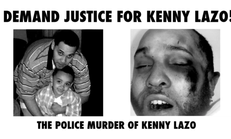 Kenny with his son, and then beaten by police.
