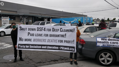 Photo of Workers and supporters shut down San Leandro Amazon Warehouse