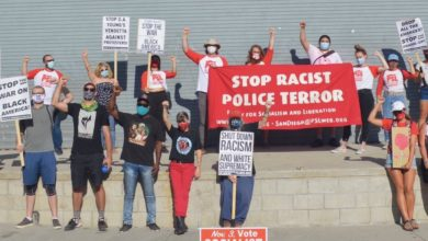 Photo of San Diego protesters stand in solidarity with Denver activists against police repression