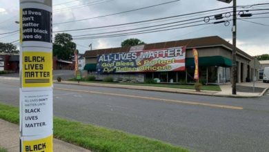 "Photo of NJ business owner continues months long ""All Lives Matter"" standoff with anti-racist protesters"