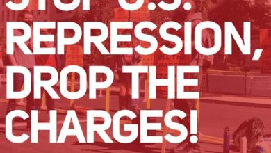 "Photo of Workers Party of Ireland on Denver organizers: ""Stop U.S. Repression, Drop the Charges!"""