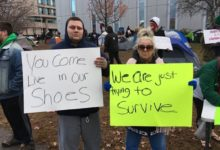 """Photo of """"We're not camping, we're living."""" Tent city residents and supporters in Manchester, New Hampshire, continue to resist illegal eviction"""