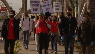 Photo of El Monte taco vendors and community: 'LA County Department of Public Health, stop harassing us!'