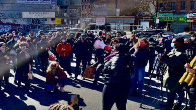 "Photo of Brooklyn community fights food gentrification, demands ""Save our supermarket!'"