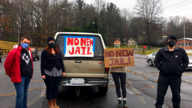 Photo of Haywood County, North Carolina car protest: 'Fund services, not jails'