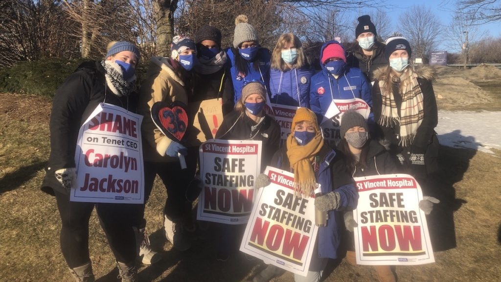 Nurses who work in Ward 36 North at. St. Vincent Hospital stand together on the picket line on the first day of the strike. March 8, 2021. Liberation Photo.