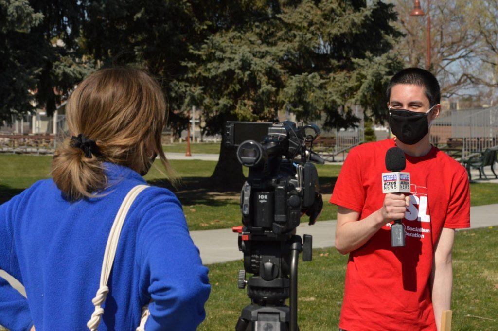 Matthew Sakamoto of PSL being interviewed in Richland, Washington, by local media. Liberation Photo: Mitch Malloy