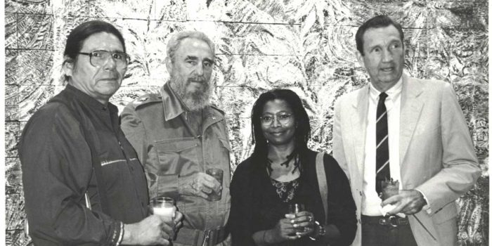Ramsey Clark is pictured with Fidel Castro, Alice Walker and Dennis Banks