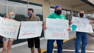 Photo of Tampa workers protest anti-union bills moving through Florida legislature
