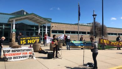 Photo of Jewish, immigrant organizers hold Passover action in Kenosha, Wisconsin