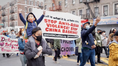 Photo of Mumia Abu-Jamal sends message to protest of anti-Asian attack in NYC