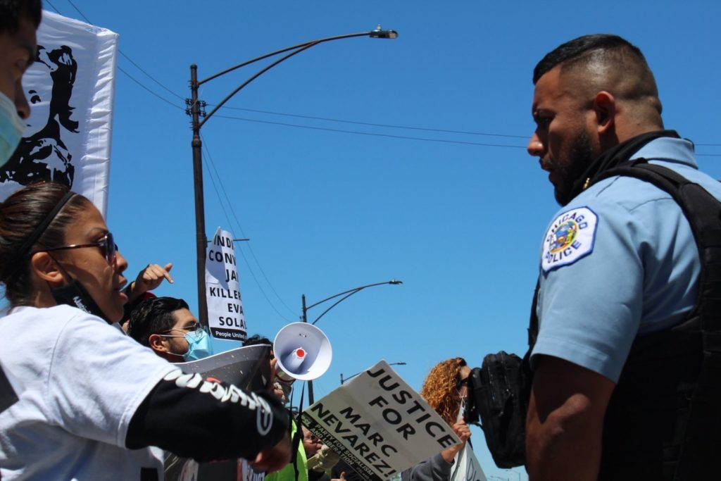 Anthony Alvarez's mother stands up to police at a May 29 rally. Liberation photo