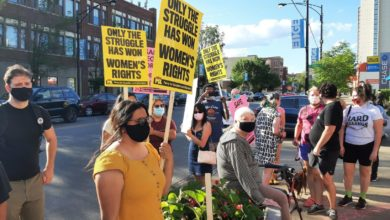 Protesters demonstrate in support of a Planned Parenthood clinic that was vandalized twice this week. Liberation photo