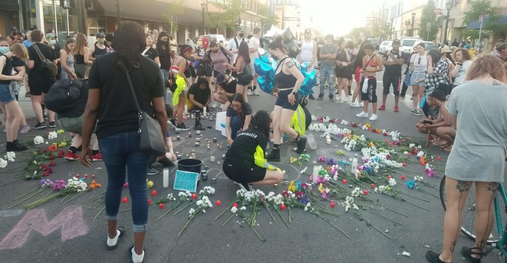 A candlelight vigil for Winston Smith At Lake and Grand on the evening of June 4. Liberation photo