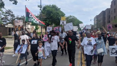 Families and supporters march to demand answers after Ronquale Ditello-Scott Jr. and Malcolm James die at the Racine County Jail. Liberation photo