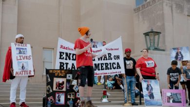 Protesters call for justice for Malcolm James and Ronquale Ditello-Scott in Racine, Wisconsin. Liberation photo