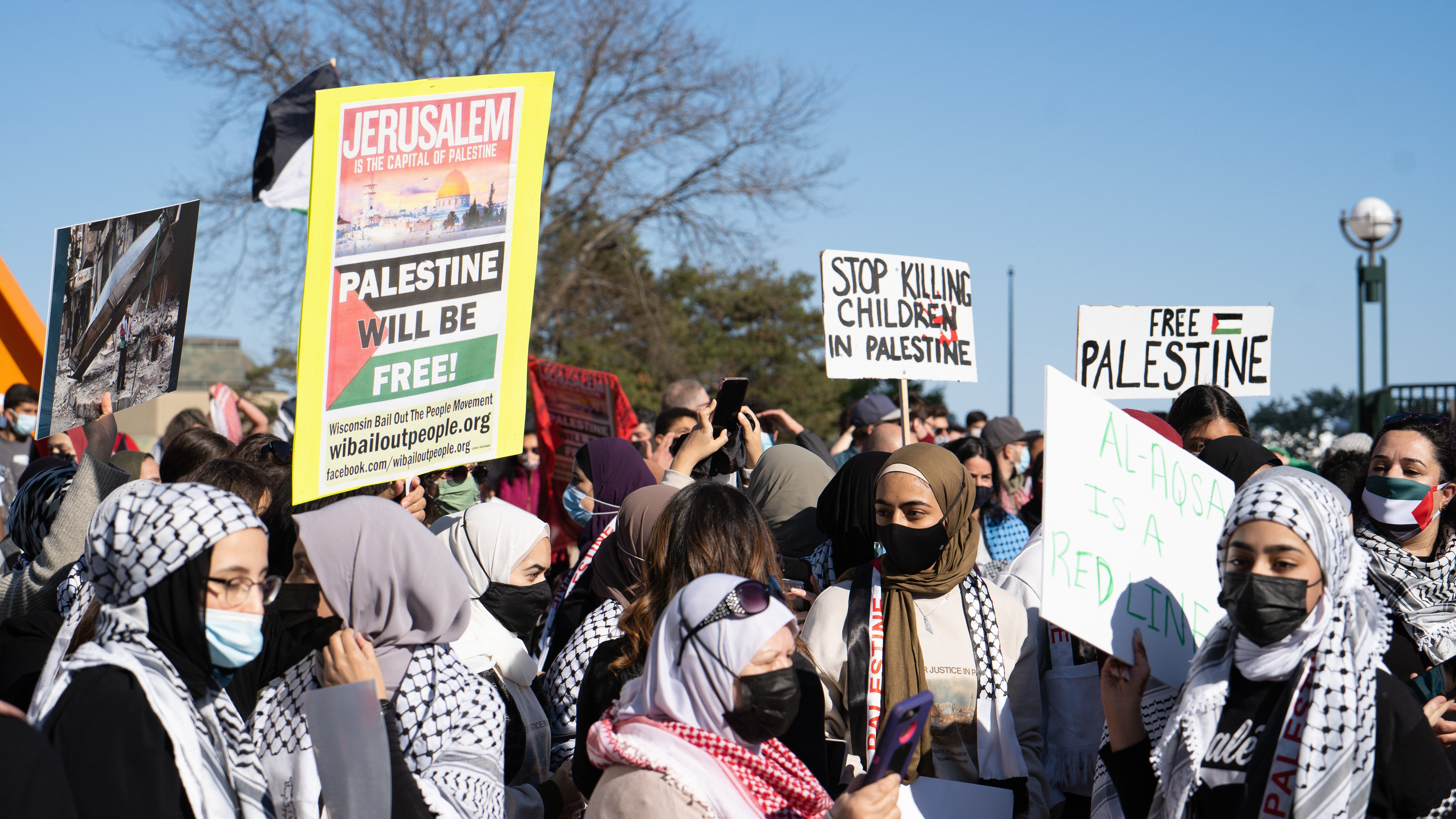 Milwaukee activists gather in support of BDS. Liberation photo