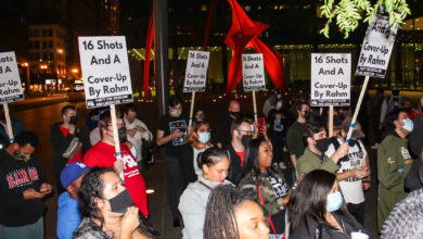 Demonstrators gathered in downtown Chicago to protest former mayor Rahm Emanuel and remember Laquan McDonald on the seven-year anniversary of his killing. Liberation photo